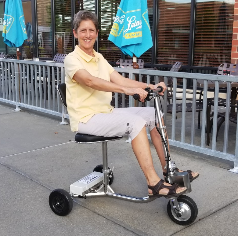 Mary_W on HandyScoot at outdoor restaurant