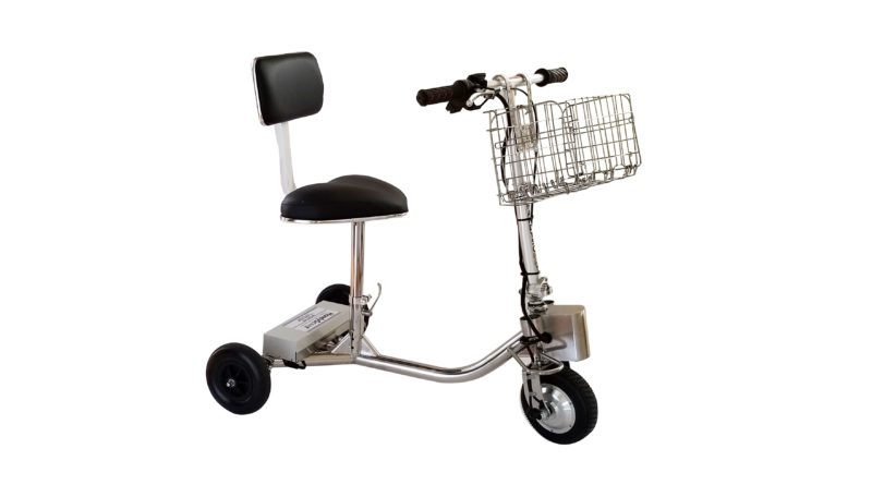HandyScoot Travel Mobility Scooter up right on angle with basket